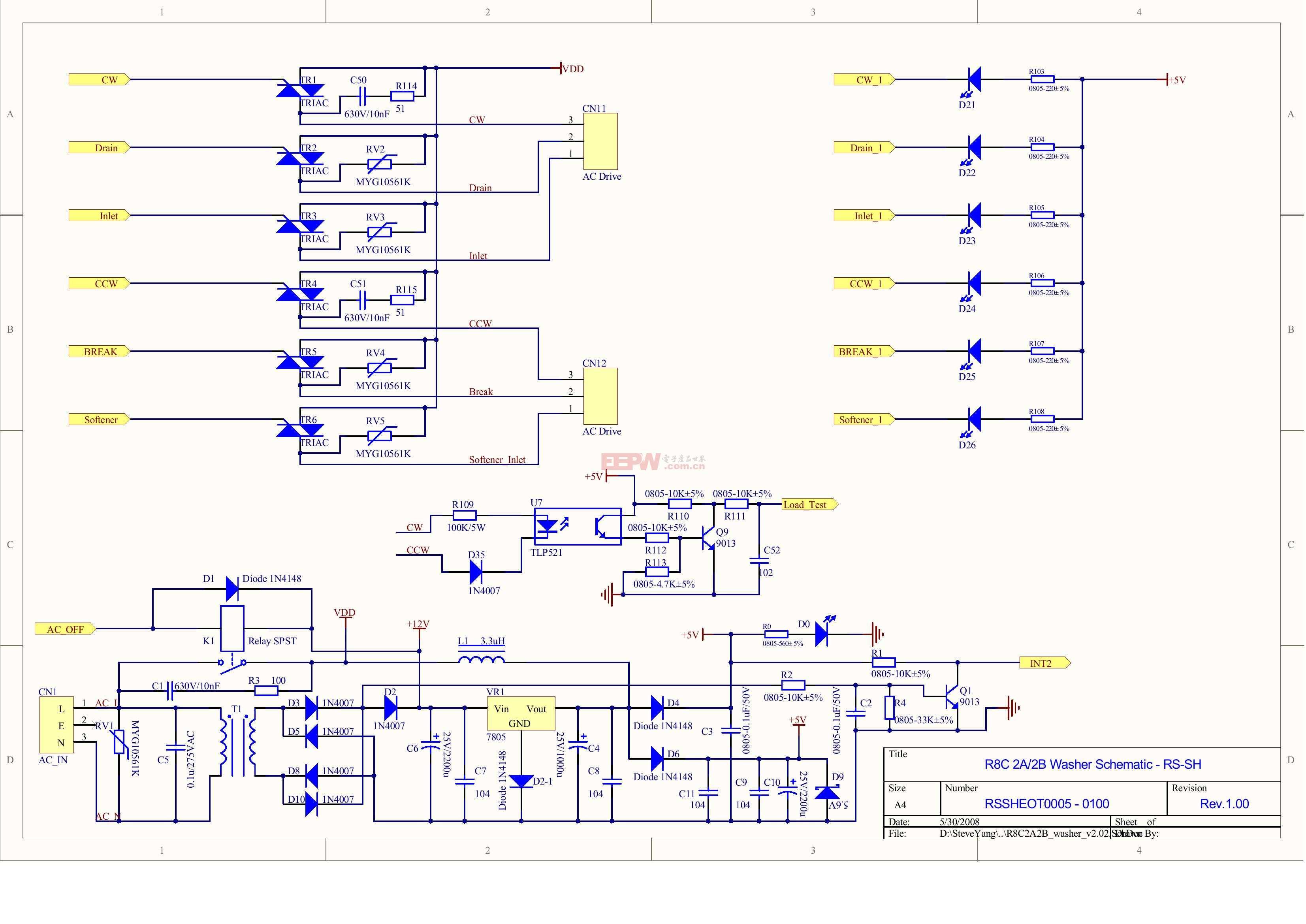 r8c/2a/2b洗衣机mcu电路板电路图