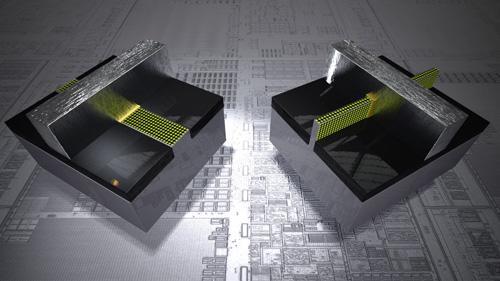 Intel 2D晶体管模型(左)与3D三栅极晶体管模型(右)