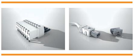 高可靠性产品:端子台(左一)与工业Mini I/O(右一)